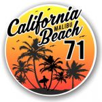 California Malibu Beach 1971 Surfer Surfing Design Vinyl Car Sticker Decal  95x95mm